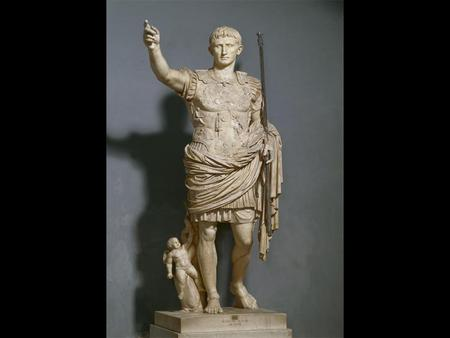 Augustus as Imperator (Augustus of Primaporta) Date early 1st century CE copy of an bronze original of ca. 20 BCE Material marble Measurements 6' 8 Style.