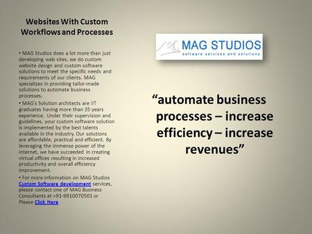 "Websites With Custom Workflows and Processes ""automate business processes – increase efficiency – increase revenues"" MAG Studios does a lot more than just."