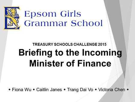 Briefing to the Incoming Minister of Finance TREASURY SCHOOLS CHALLENGE 2015  Fiona Wu  Caitlin Janes  Trang Dai Vo  Victoria Chen 