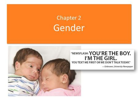 Chapter 2 Gender. Chapter Sections 2-1 Terminology of Gender Roles 2-2 Theories of Gender Role Development 2-3 Agents of Socialization 2-4 Consequences.