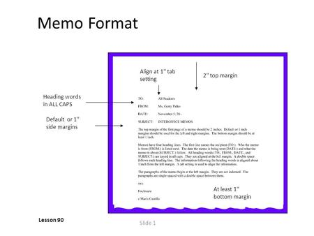 Slide 1 Memo Format Lesson 90 Default or 1 side margins Heading words in ALL CAPS Align at 1 tab setting 2 top margin At least 1 bottom margin.