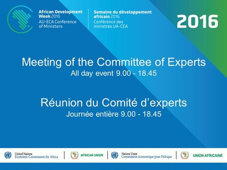 Meeting of the Committee of Experts All day event 9.00 - 18.45 Réunion du Comité d'experts Journée entière 9.00 - 18.45.