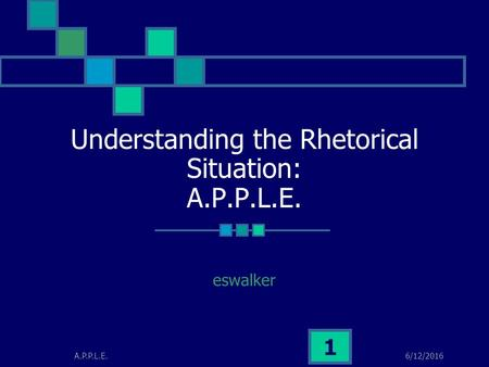 6/12/2016A.P.P.L.E. 1 Understanding the Rhetorical Situation: A.P.P.L.E. eswalker.