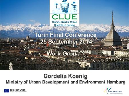 Turin Final Conference 25 September 2014 Work Group 1 Cordelia Koenig Ministry of Urban Development and Environment Hamburg Turin Final Conference 25 September.
