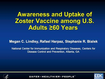 TM Awareness and Uptake of Zoster Vaccine among U.S. Adults ≥60 Years Megan C. Lindley, Rafael Harpaz, Stephanie R. Bialek National Center for Immunization.