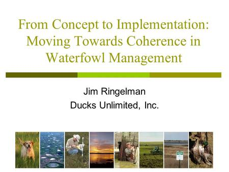 From Concept to Implementation: Moving Towards Coherence in Waterfowl Management Jim Ringelman Ducks Unlimited, Inc.