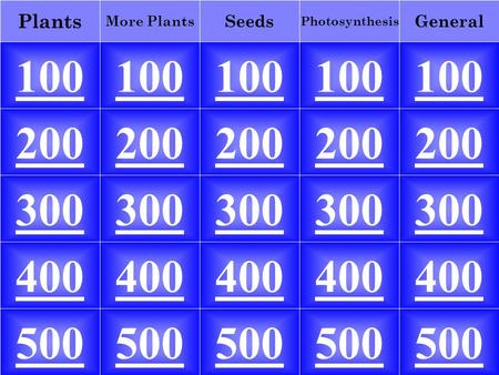 100 General Photosynthesis More Plants Seeds Plants 100 200 300 400 500 200 300 400 500.