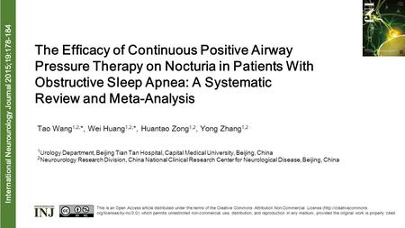 Interna tional Neurourology Journal 2015;19:178-184 The Efficacy of Continuous Positive Airway Pressure Therapy on Nocturia in Patients With Obstructive.