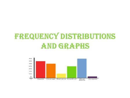 Frequency Distributions and Graphs. Organizing Data 1st: Data has to be collected in some form of study. When the data is collected in its' original form.