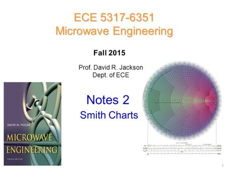 Prof. David R. Jackson Dept. of ECE Notes 2 ECE 5317-6351 Microwave Engineering Fall 2015 Smith Charts 1.