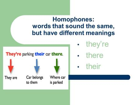 Homophones: words that sound the same, but have different meanings they're there their.