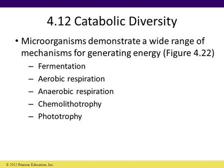 4.12 Catabolic Diversity Microorganisms demonstrate a wide range of mechanisms for generating energy (Figure 4.22) – Fermentation – Aerobic respiration.