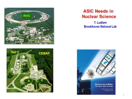 AB c CEBAF Hall D ASIC Needs in Nuclear Science T. Ludlam Brookhaven National Lab 1 RHIC.