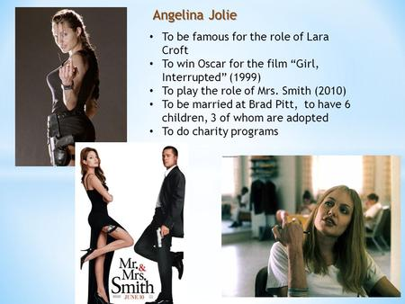 "Angelina Jolie To be famous for the role of Lara Croft To win Oscar for the film ""Girl, Interrupted"" (1999) To play the role of Mrs. Smith (2010) To be."