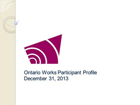 Ontario Works Participant Profile December 31, 2013.