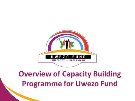 Overview of Capacity Building Programme for Uwezo Fund.