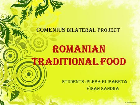 Romanian Traditional Food STUDENTS :PLESA ELISABETA VISAN SANDRA COMENIUS Bilateral project.