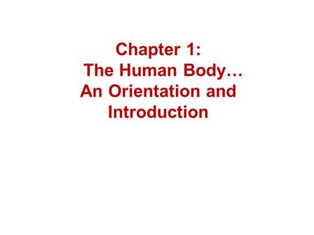 Chapter 1: The Human Body… An Orientation and Introduction.