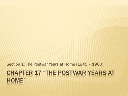 Section 1: The Postwar Years at Home (1945 – 1960)