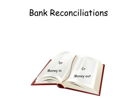 Bank Reconciliations Money out Dr Cr Money in. 1. Work through receipts and payments on the bank statement ticking the transaction if it appears in the.