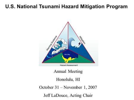 U.S. National Tsunami Hazard Mitigation Program Annual Meeting Honolulu, HI October 31 – November 1, 2007 Jeff LaDouce, Acting Chair.