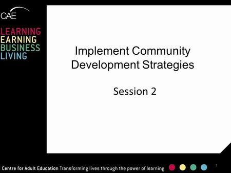 Implement Community Development Strategies Session 2 1.