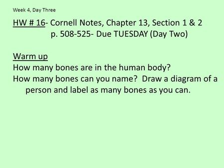 HW # 16- Cornell Notes, Chapter 13, Section 1 & 2 p. 508-525- Due TUESDAY (Day Two) Warm up How many bones are in the human body? How many bones can you.