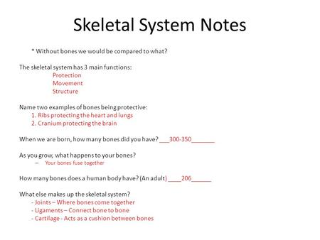 Skeletal System Notes * Without bones we would be compared to what? The skeletal system has 3 main functions: Protection Movement Structure Name two examples.