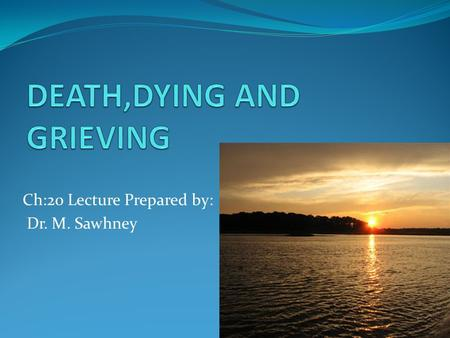 Ch:20 Lecture Prepared by: Dr. M. Sawhney. The Death System and Cultural Contexts Components comprising the death system: People Places or contexts Times.