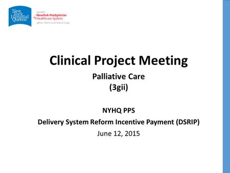 Clinical Project Meeting NYHQ PPS Delivery System Reform Incentive Payment (DSRIP) June 12, 2015 Palliative Care (3gii)