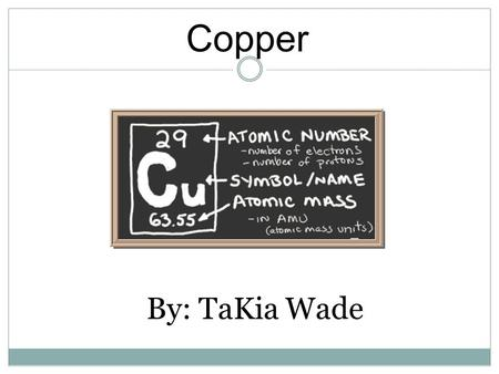 Copper By: TaKia Wade. General Information Element name Copper Chemical Symbol Cu Atomic Weight 63.546 Atomic Number 29 Comes from the Latin word Cuprum.