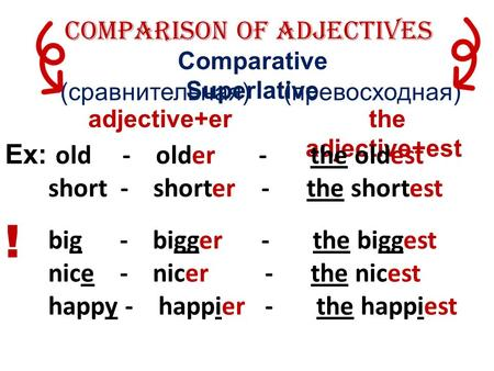 (сравнительная) (превосходная) Comparison of Adjectives Comparative Superlative adjective+er the adjective+est Ex: old - older - the oldest short - shorter.