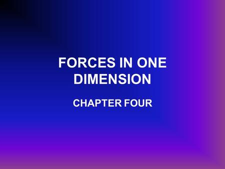 FORCES IN ONE DIMENSION CHAPTER FOUR. FORCE Is a push or a pull exerted on an object. The object is called the system. Everything that surrounds the object.