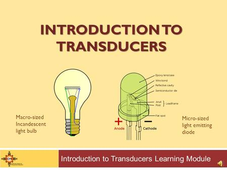 INTRODUCTION TO TRANSDUCERS Introduction to Transducers Learning Module Macro-sized Incandescent light bulb Micro-sized light emitting diode.