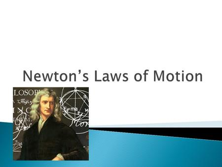  To learn Newton's Three Laws  Be able to provide example of the laws  Draw Free Body Diagrams correctly  Use Newton's second law to solve for F,
