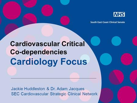 Cardiovascular Critical Co-dependencies Cardiology Focus Jackie Huddleston & Dr. Adam Jacques SEC Cardiovascular Strategic Clinical Network.