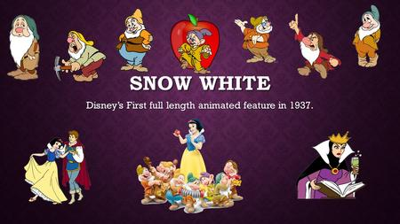 SNOW WHITE Disney's First full length animated feature in 1937.