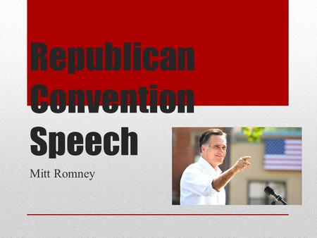 Republican Convention Speech Mitt Romney. Background Mitt Romney was born on March 12, 1947. Mitt Romney is 66 years old and is married to Ann Romney.