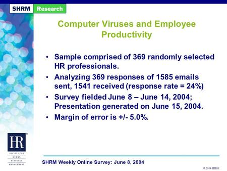 © 2004 SHRM SHRM Weekly Online Survey: June 8, 2004 Computer Viruses and Employee Productivity Sample comprised of 369 randomly selected HR professionals.