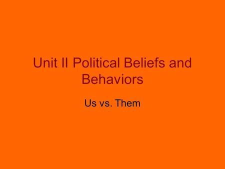 Unit II Political Beliefs and Behaviors Us vs. Them.