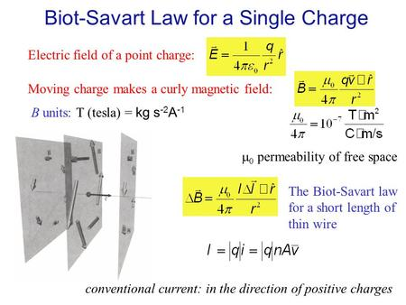 Biot-Savart Law for a Single Charge Electric field of a point charge: Moving charge makes a curly magnetic field: B units: T (tesla) = kg s -2 A -1 The.