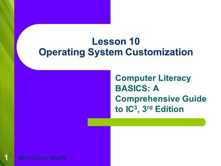 1 Lesson 10 Operating System Customization Computer Literacy BASICS: A Comprehensive Guide to IC 3, 3 rd Edition Morrison / Wells.