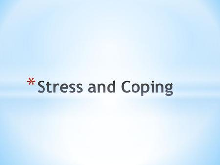 * Identify emotions associated with stress * Describe feelings of control * Define coping mechanisms and provide examples * Explore healthy stress.