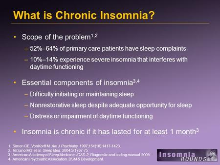 What is Chronic Insomnia? Scope of the problem 1,2 –52%–64% of primary care patients have sleep complaints –10%–14% experience severe insomnia that interferes.