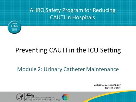 Catheter Maintenance1 AHRQ Safety Program for Reducing CAUTI in Hospitals Preventing CAUTI in the ICU Setting AHRQ Safety Program for Reducing CAUTI in.