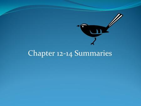 Chapter 12-14 Summaries. Chapter 12  Jem reaches the age of 12 and wants Scout to stop pestering him.  Scout eagerly awaits the arrival of summer and.