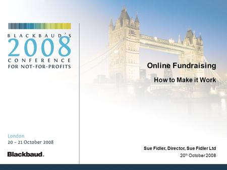 Online Fundraising How to Make it Work 20 th October 2008 Sue Fidler, Director, Sue Fidler Ltd.
