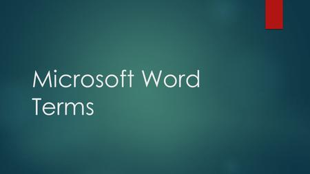 Microsoft Word Terms.