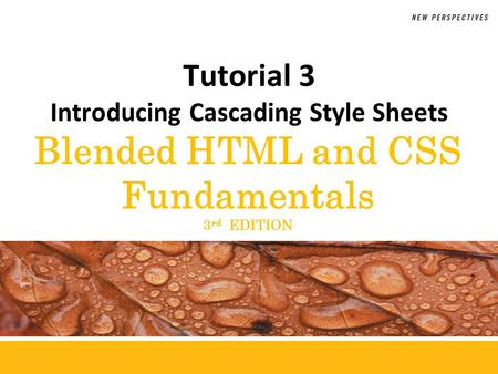 Blended HTML and CSS Fundamentals 3 rd EDITION Tutorial 3 Introducing Cascading Style Sheets.