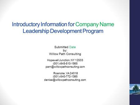 Introductory Information for Company Name Leadership Development Program Submitted Date by: Willow Path Consulting Hopewell Junction, NY 12533 (001)-845-510-1565.
